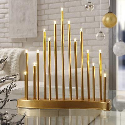 LED Stimmungsleuchte Adventsleuchter Fenster Leuchter Schwibbogen S-Form Gold