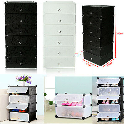 Home Shoe Rack Shelf Storage Closet Clothes Organizer Cabinet 6 Layer Portable