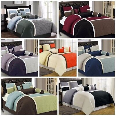 Duvet Collection (Chezmoi Collection 7-Piece Quilted Patchwork Duvet Cover Set with Corner Ties )