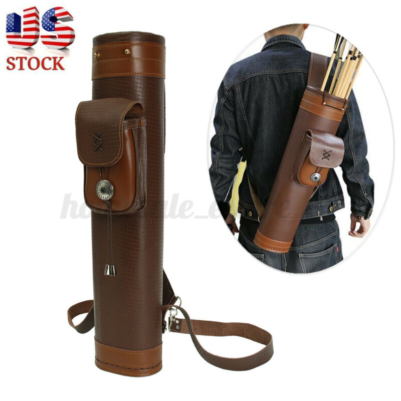 US Genuine Leather Men Archery Storage Back Arrow Quiver Hunting Pouch Belt Bag