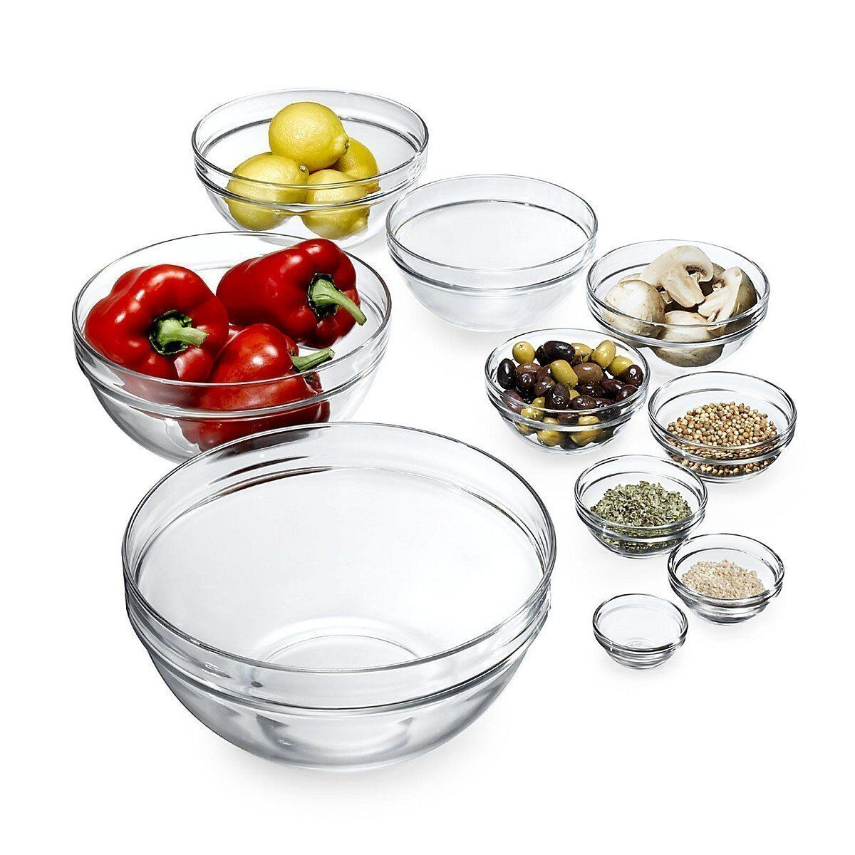 6cm lys stacking mixing bowl toughened glass