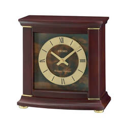 Seiko QXJ030BLH Desk & Table Classics Brown & Gold Dial Clock