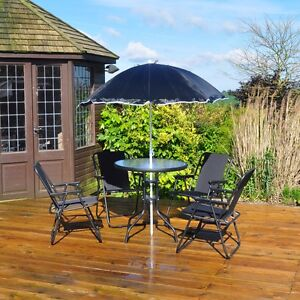 Garden Patio Furniture Set 4 Seater Dining Set Parasol Glass Table & Chairs NEW