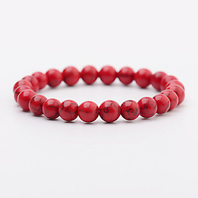 Men Women Natural Red Turquoise Chakra Bead Elastic Natural Stone Agate Bracelet](Blue Bead Bracelet)