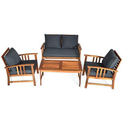 Garden Furniture - 4 Pieces Wooden Patio Furniture Set Table Sofa Chair Cushioned Garden Outdoor