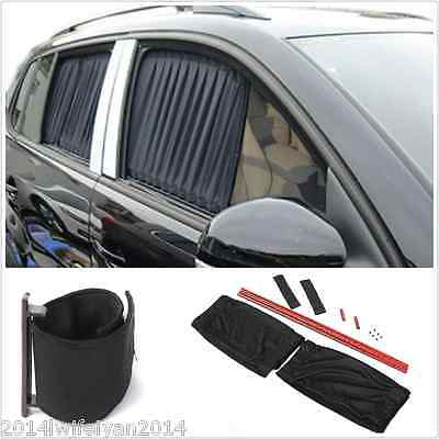 2pc  Adjustable Car  Window Anti-UV Sun Shade Drape Visor Curtain Valance