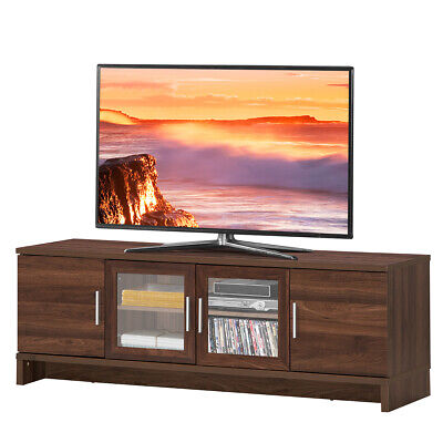"""TV Stand Media Entertainment Center for TV's up to 70"""" w/ Storage Cabinet Walnut"""