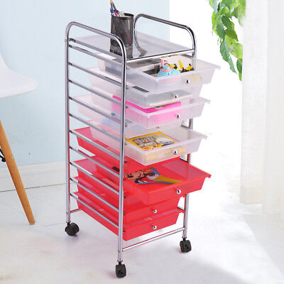 Rolling Storage Cart and Organizer Drawer Cabinet with 10 transparent drawers