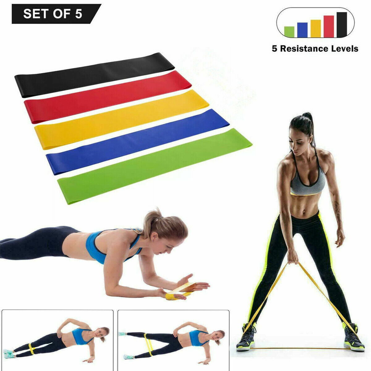 Resistance Loop Bands Set Strength Fitness Gym Exercise Yoga Workout Pull Up Fitness Equipment & Gear