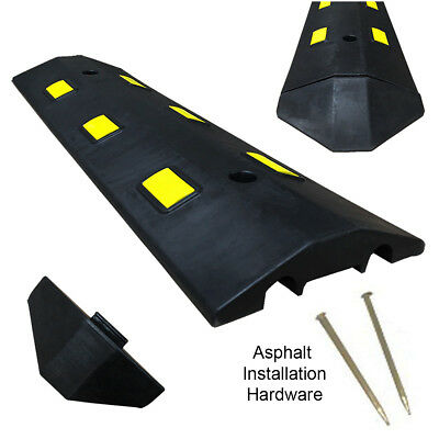 3ft Asphalt Light Weight Speed Bump Traffic Road Safety Control Black Yellow