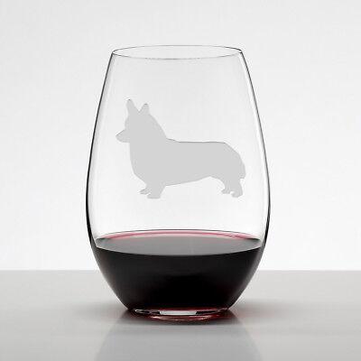 Corgi Gift, Welsh Corgi Etched Stemless Wine Glasses, Handmade Dog Lover Gift