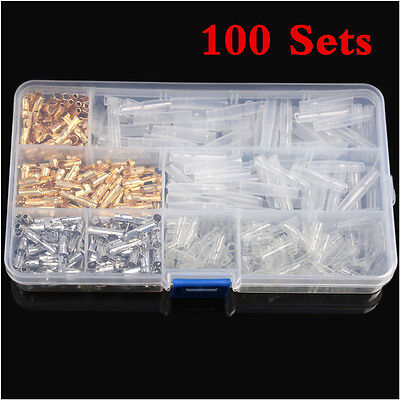 100 Set Bullet Connector 3.9mm Male&Female Wire Terminals &Insulation Cover