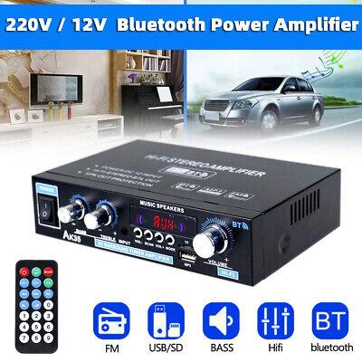 600W Audio Estéreo Bluetooth Amplificador Coche Música Hogar HiFi FM SD USB...