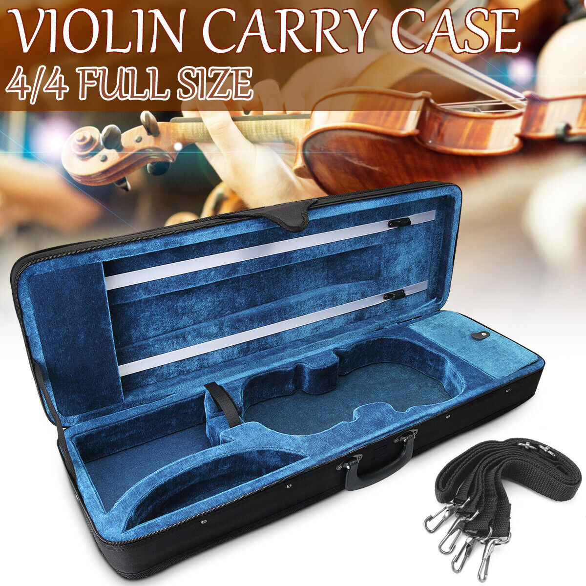Black 4/4 Full Size Oblong Shape Violin Carry Box Hard Case with Musical Instruments & Gear