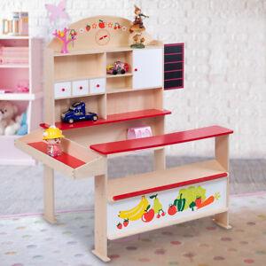 Wooden Play Shops Children Toy Shop Corner Village Supermarket Shopping Stall UK