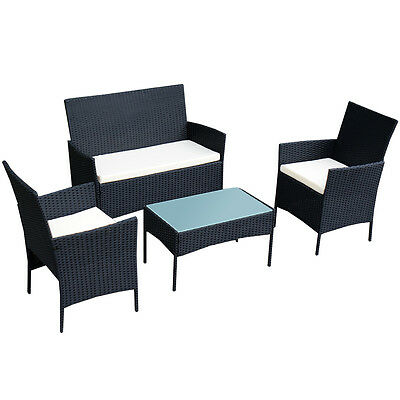 4 PC Outdoor Rattan Furniture Set Loveseat Sofa Cushioned Patio Garden Steel NEW