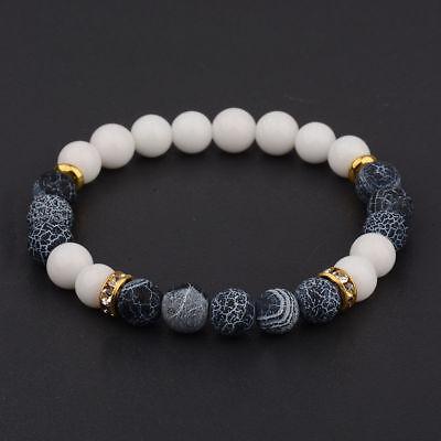 Charm Natural Lava Stone Gemstone Beads Buddha Head Lion's Head Men's Bracelets