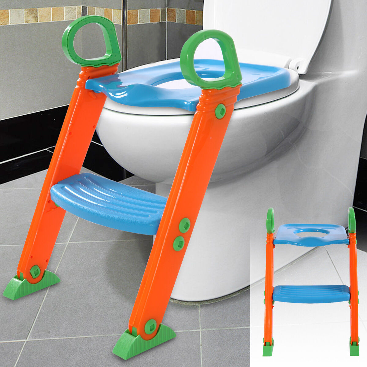 potty trainer toilet seat chair kids toddler with ladder step up training stool shopping ebay. Black Bedroom Furniture Sets. Home Design Ideas