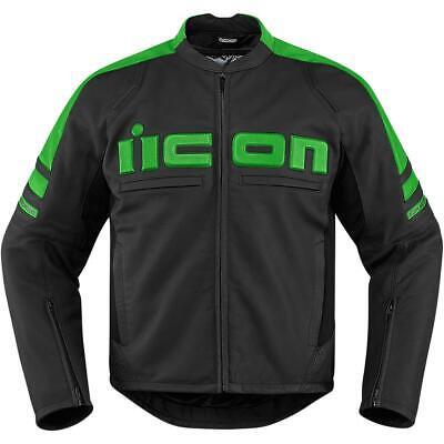 Icon Motorhead 2 Leather Jacket Green (Black, Medium)