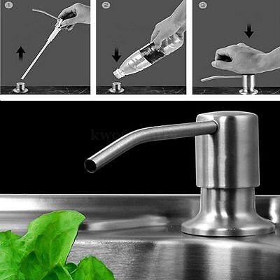 300ml Kitchen Sink Liquid Shampoo Soap Dispenser Brushed Nickel Head ABS Bottle