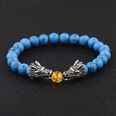 Blue Dragon Dragon Bracelet - 8mm Blue Turquoise Double Dragon Beaded Elastic Men Women Yoga Charm Bracelets