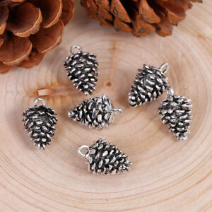 5 ANTIQUE SILVER 3D PINE CONE CHARMS/PENDANTS 20x12mm~Christmas~Wine Glass (99C)