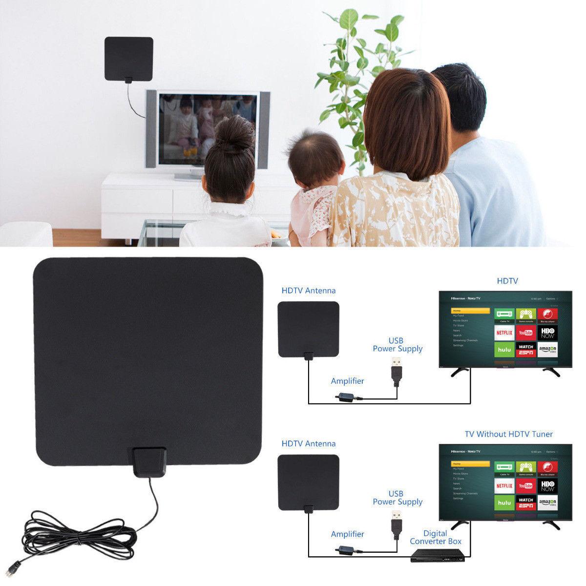 50 Miles Range Flat HD Digital Indoor Amplified TV Antenna w