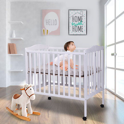 Pine Wood Baby Toddler Bed Nursery Furniture Safety Newborn White