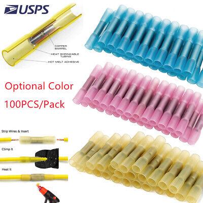 100pc 10-22 Gauge Waterproof Heat Shrink Butt Wire Connectors Crimp Terminals Us