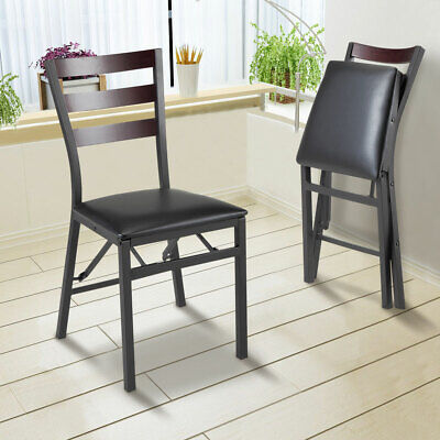 Set of 2 Folding Metal Chairs Upholstered PU Leather Portable Dining Room Chair Metal Set Folding Chair
