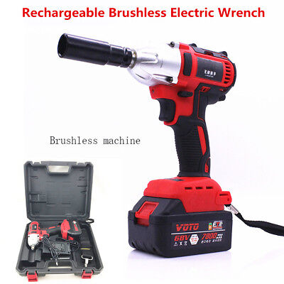 68V Rechargeable Brushless Electric Impact Wrench Cordless 360n.m 7800Ah+Adaptor