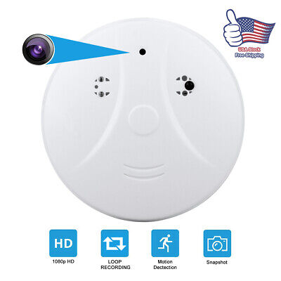 1080P HD SPY DVR Hidden IP Camera Smoke Detector Motion Detection Nanny Video
