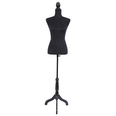 Female Mannequin Torso Dress Form Display Wblack Tripod Stand Us Styrofoam New