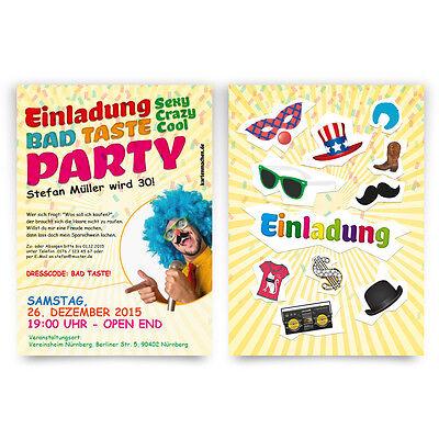 Einladungen zum Geburtstag Bad Taste Kostüm Party Fasching Einladungskarten (Bad Taste Party Kostüm)