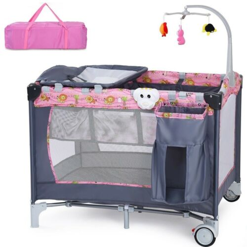 Travel Baby Crib Infant Folding Cot Playpen With Toys Portable Pink Bed Changer