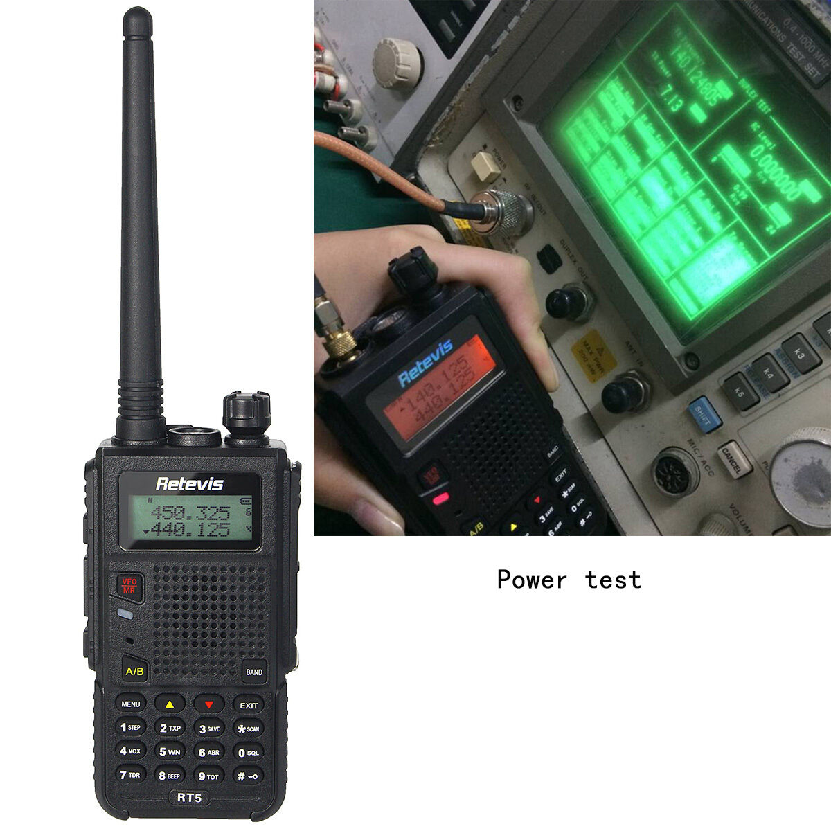 5 sets Retevis RT5 Walkie-Talkie VOX VHF+UHF 128CH 8W//5W//1W 1750Hz 2-Way Radio