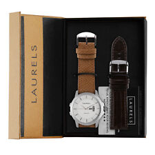 Laurels Inc-601 Day n Date White dial Men's watch with Free Strap