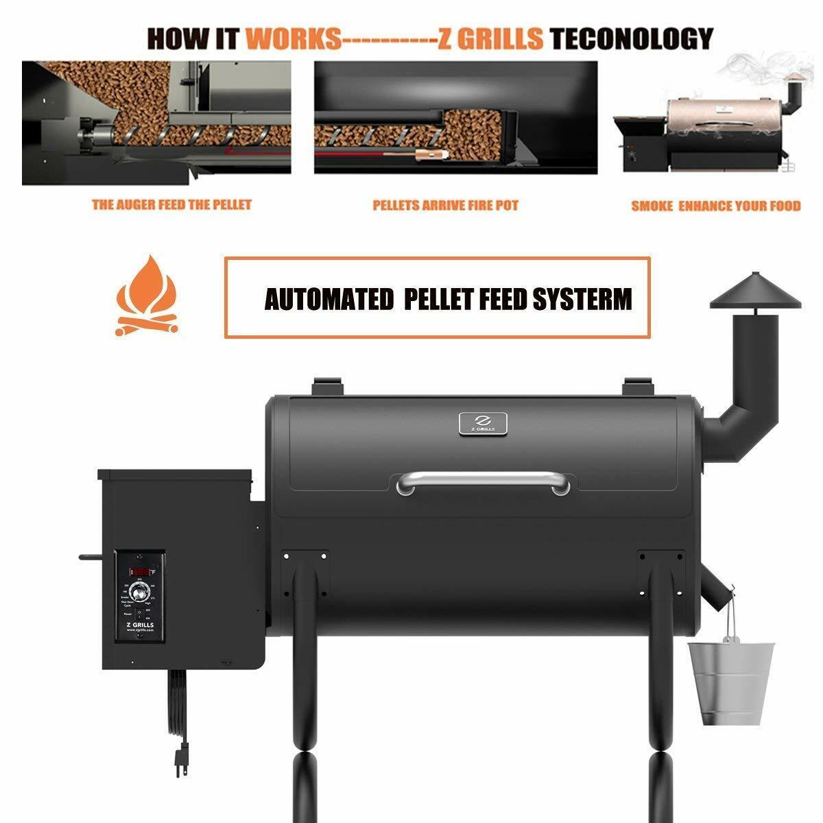 Z GRILLS ZPG-550B Wood Pellet Grill BBQ Smoker 8 in1 Grill w