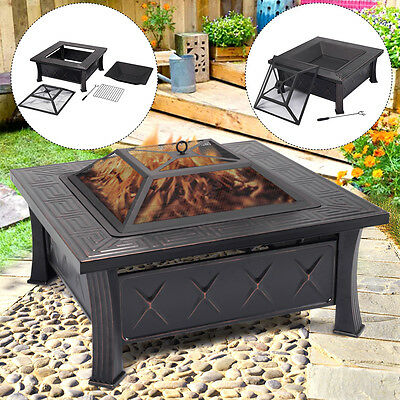 Outdoor Garden Fire Pit Firepit Brazier Square Stove Patio Heater BBQ Steel New