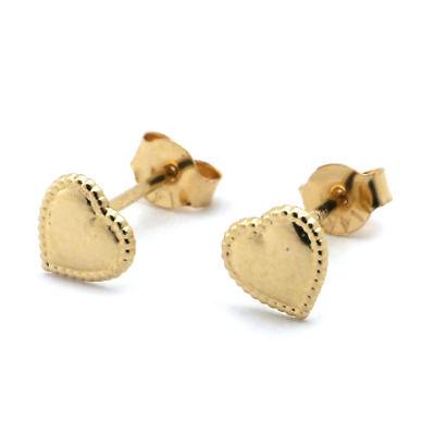 (14k Solid Yellow Gold Beaded Edge Heart Stud Earrings)