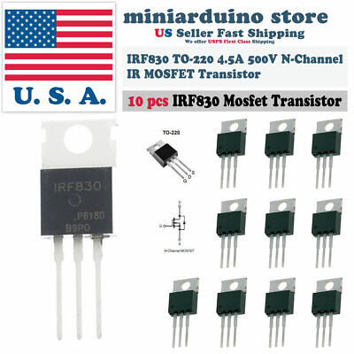 10pcs Irf830 Ir Power Mosfet N-channel 4.5a 500v Transistor