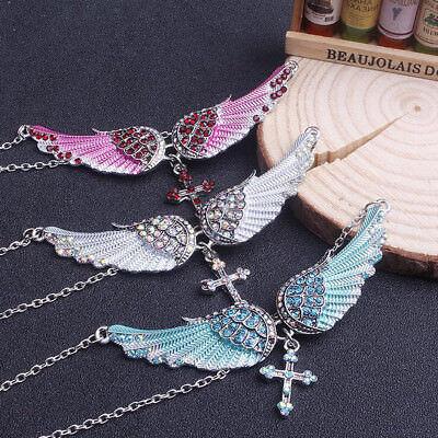 Antique Women Rhinestone Angel Wing Cross Necklace Crystal Jewelry Gift