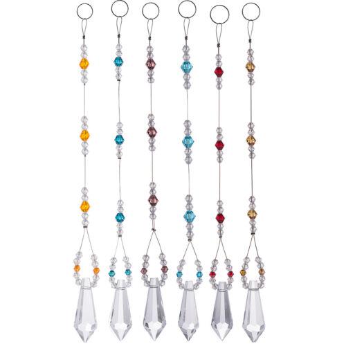 US Set 6 Suncatcher Crystal Pendants Prisms Crystal Chandelier Hanging Ornaments