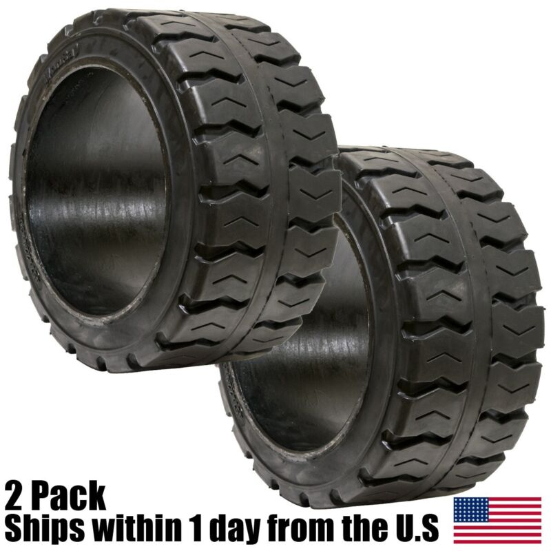 2PK 21X8X15 21X8-15 Solid Puncture Proof Press-On Traction Forklift Tire 21815