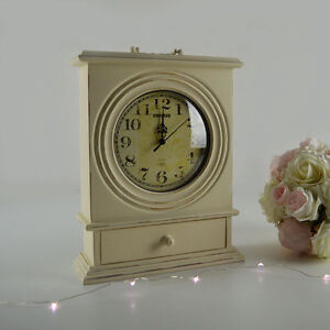 Vintage Mantle Cream Clock With Drawer Shabby Chic Home Decor