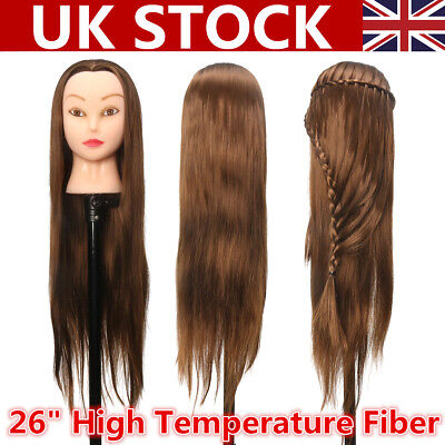 26 Practice Training Head Long Hair Styling Salon Hairdressing Mannequin Uk Gbp 13 29