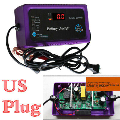 Functional 12V/24V 200AH LCD Display Car Motors Battery Charger US Specification ()