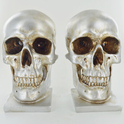 - Silver Skull Bookends Heavy Storage Hipster Gothic Alternative Office Gift 39973
