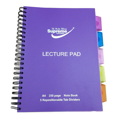 A4 Classic 5 Repositionable Tab Dividers Lecture Spiral Book Pad - 240 Pages