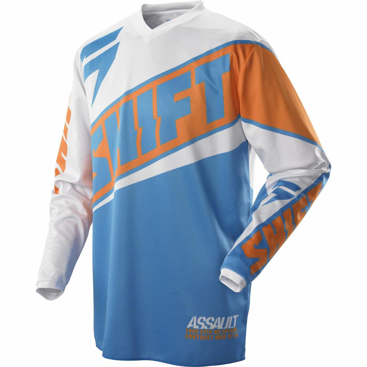 Neuf Maillot Motocross Shift Racing Assault Race Orange Bleu Blanc Enduro PROMO
